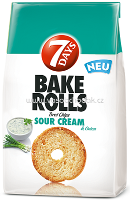 7 Days Bake Rolls Sour Cream & Onion, 250g
