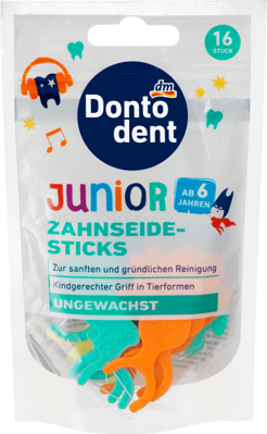 DONTODENT Zahnseide-Sticks Junior, 16 St
