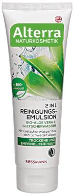 Alterra NATURKOSMETIK 2in1 Reinigungsemulsion Bio-Aloe Vera & Gletscherwasser, 125 ml