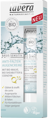 Lavera Augencreme Basis Sensitiv Anti-Falten Q10, 15 ml