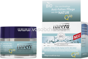 Lavera Nachtcreme Basis Sensitiv Anti-Falten Q10, 50 ml
