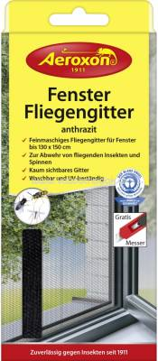 Aeroxon Fenster-Fliegengitter, anthrazit, 1 St