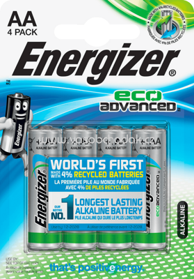 Energizer Batterien Eco Advanced Mignon AA Alkali-Mangan, 4 St