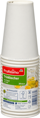 Profissimo Trinkbecher Pappe 0,2l, 20 St