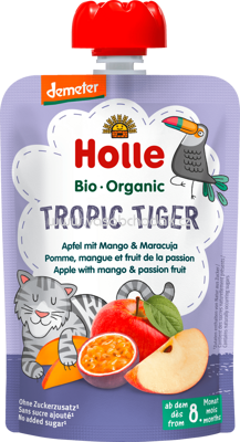 Holle baby food Quetschbeutel Tropic Tiger, Apfel mit Mango & Maracuja, ab 8 Monaten, 100g