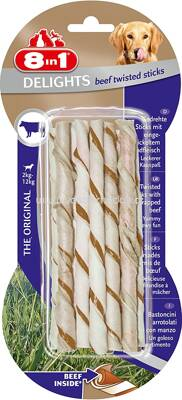 8in1 Beef Delights Twisted Sticks XS, 2-12 kg, 10 St