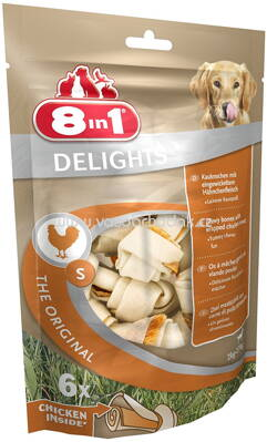 8in1 Huhn Delights Kauknochen Pack S, 2-27 kg, 6 St