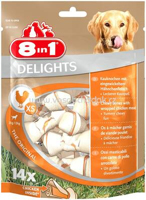8in1 Huhn Delights Kauknochen Pack XS, 2-12 kg, 14 St